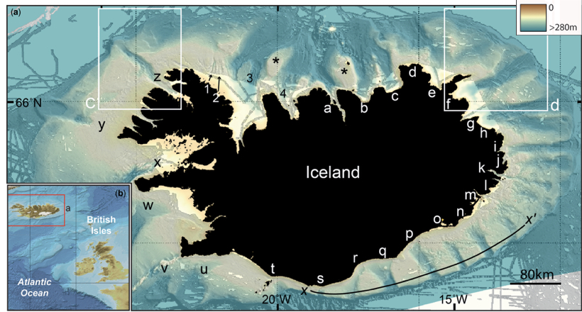 From Clark and Spagnolo (2016). The troughs in the continental shelf off Iceland are interpreted as the former location of ice streams. Note the beautifully regular spacing!