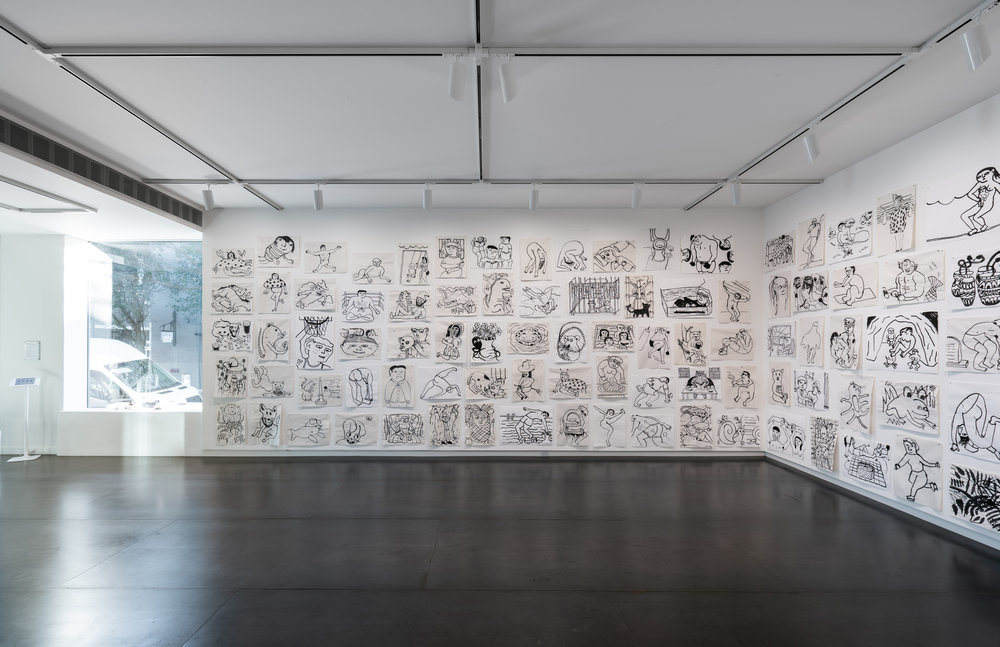 Ralph Pugay,  after swimming 1-132  (installation view), Ink on Paper, 2018  Photo by Mario Gallucci, courtesy the artist and Upfor