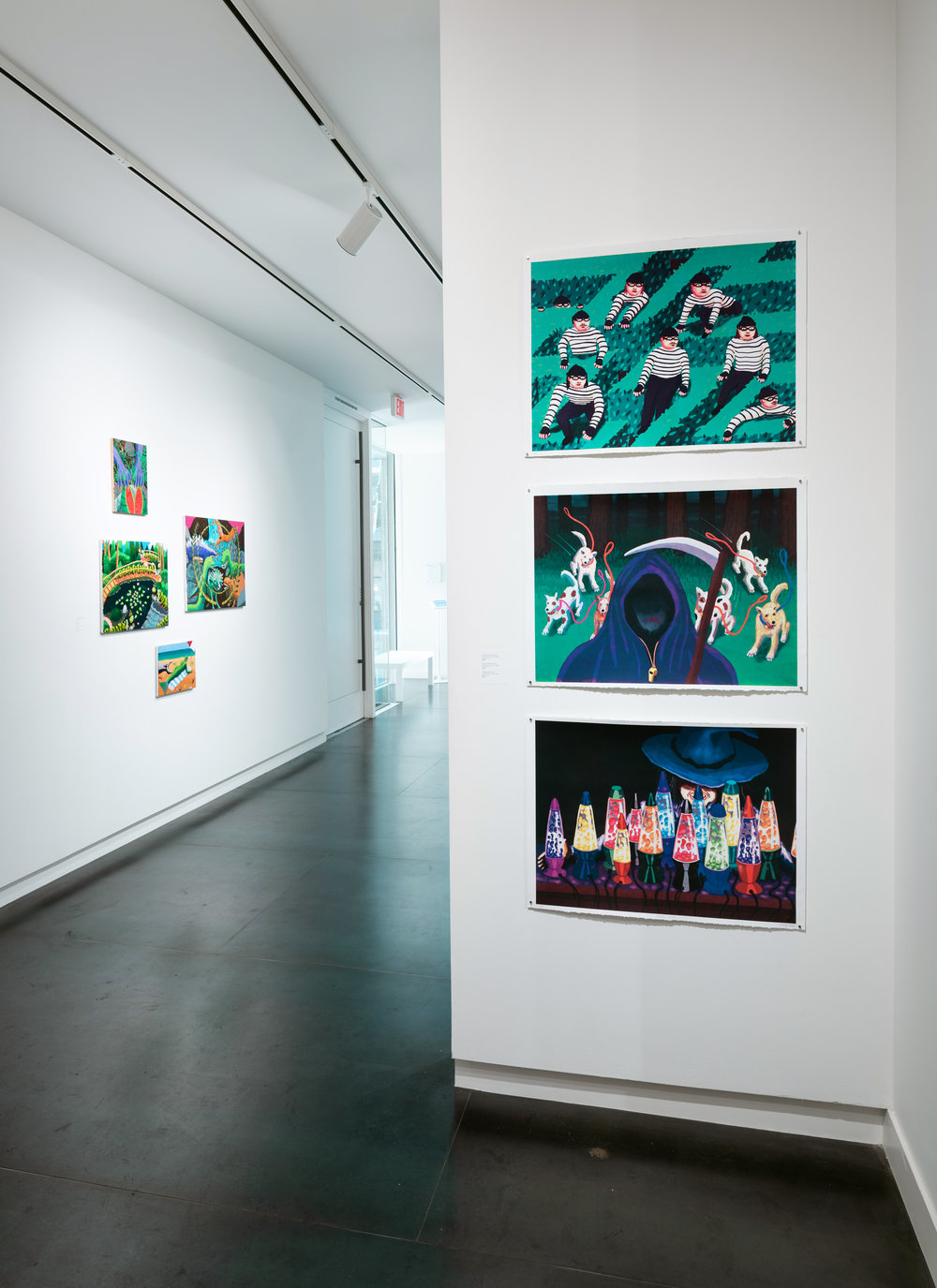 "Easy Training Day, Dogs and death, plastic witch installation view,  each screen print on paper, 22""x30"" 2018  Photo by Mario Gallucci, courtesy the artist and Upfor"