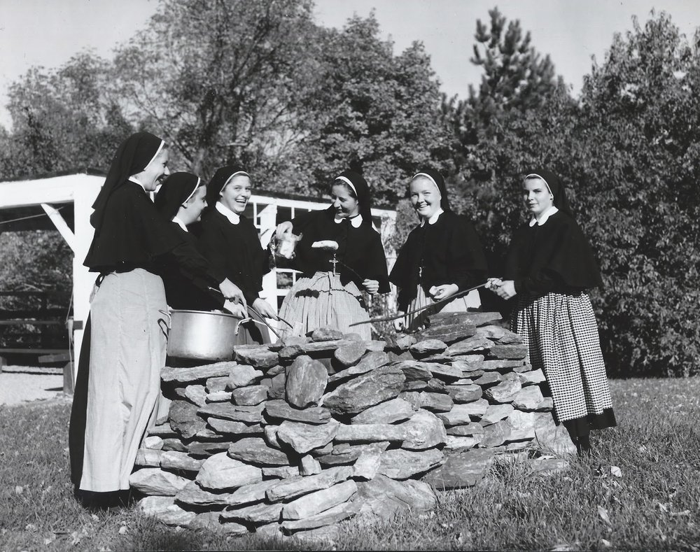 Pictured here are some young women who were postulants in training in Litchfield in the 1960's.