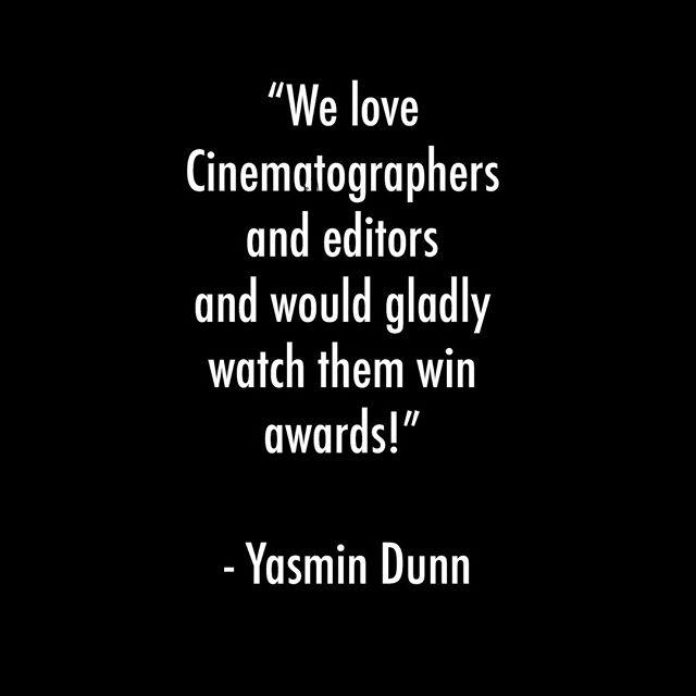 We love Cinematographers and editors would gladly watch them win awards! - Yasmin Dunn #postproduction #solidarity #oscars #theacademy #vfx #editors #robotrumpus #theoscars