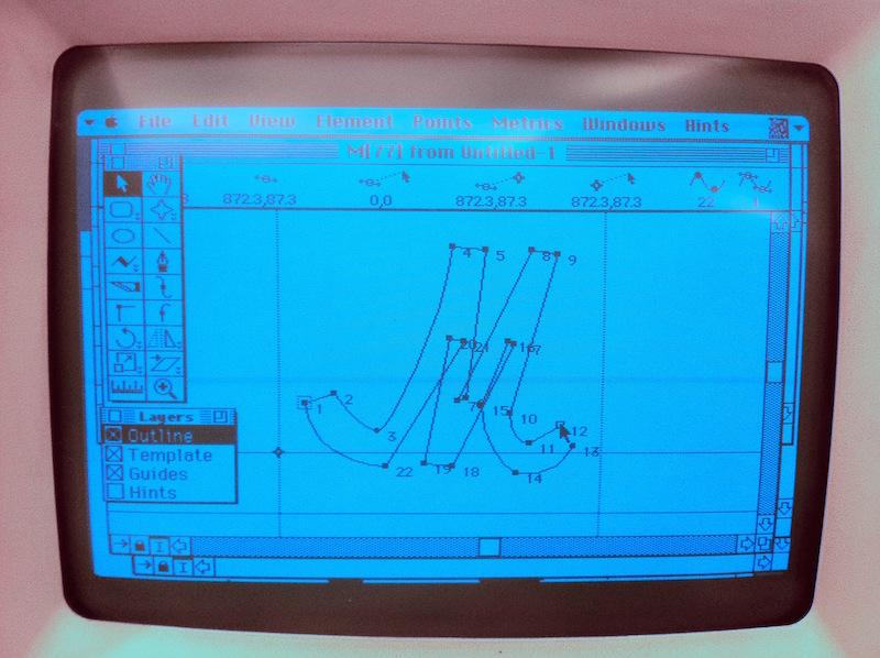 Fontographer 在早期 Mac 电脑上的介面