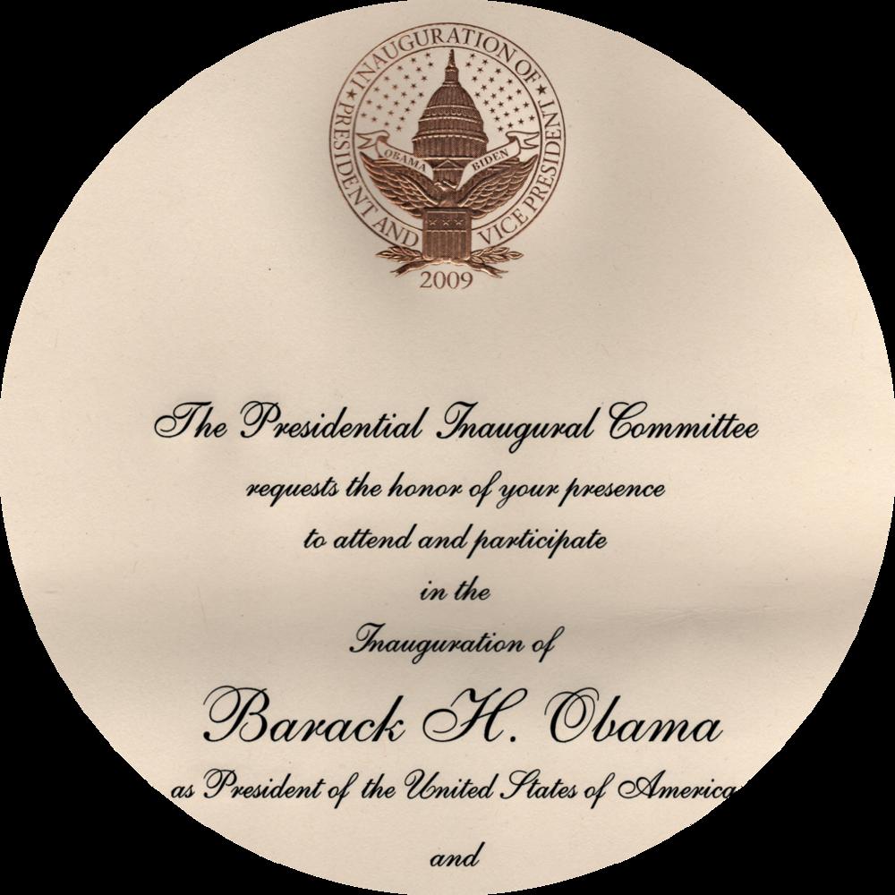 欧巴马、拜登 2009 年就职大典的邀请函,字体就是铜板草书体