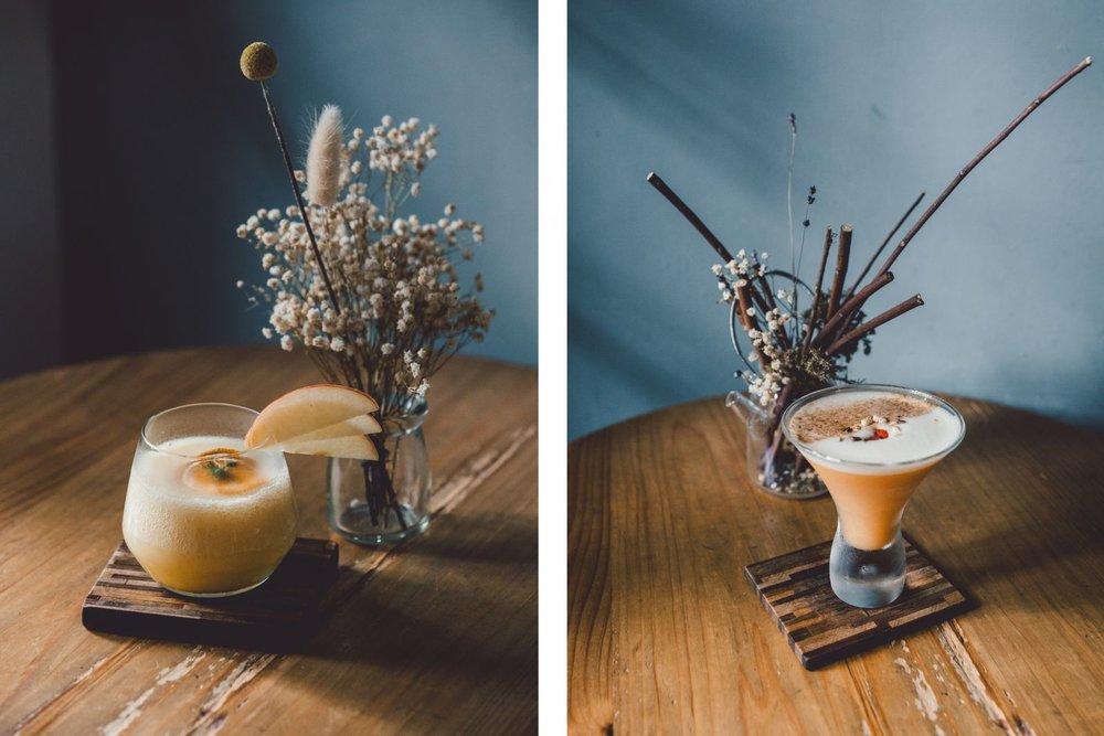 野行(左),也行,不设限的调酒配方,挑战风味的可能性。孔雀的小瓮酒,以台湾水果最完整的风味呈现,坚持无添加,使用天然当季在地食材,带来无设限的味觉想像。  大稻埕(右),因此地具有大片晒稻谷的空地而得名,因茶叶和布料贸易而繁荣,这款调酒特地结合了米酒、爆米香和台湾乌龙茶,从香气到味觉,仿佛自己就置身在迪化街。