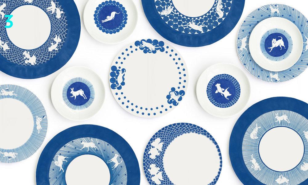 「白纹瓷绘」系列/灵感来自始于元朝的蓝地白纹青花瓷。利用现代几何纹样,搭配动感的动物造型。