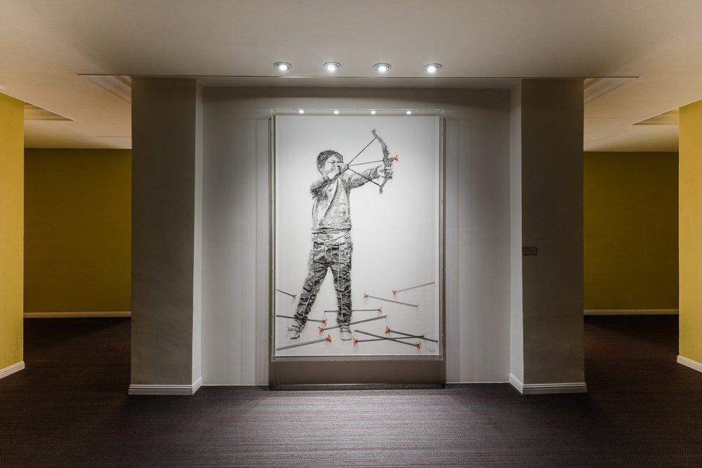 2018粉乐町作品。Debbie Smyth-《光阴似箭》(Time flies like an arrow),运用大量钉子与线材完成的作品 ©Fubon Art Foundation