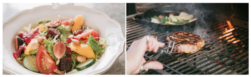 ▲农场花园沙拉(左)从开幕至今卖到现在,每每随着季节变化,能一次尝到当季蔬果的风味。/ 美国顶级纽约客牛排(右)