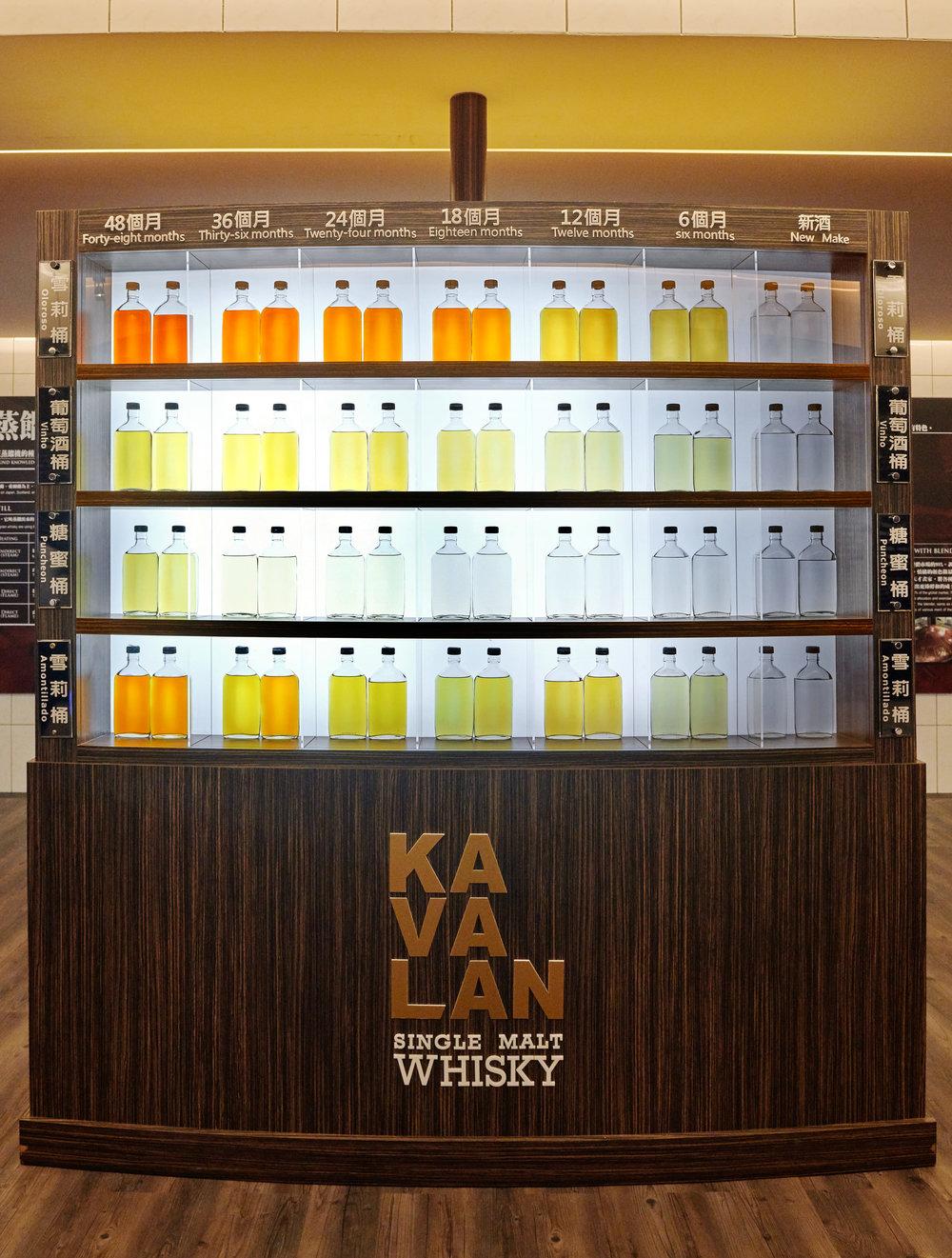 ▲图二:噶玛兰酒厂走廊可见酒桶与时间对酒液颜色的影响。