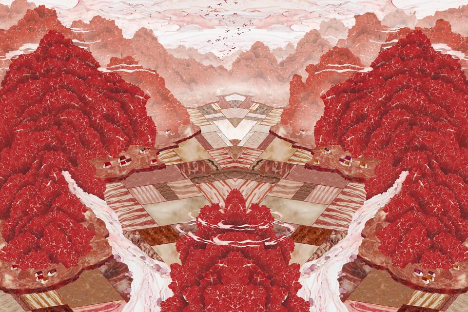 A landscape of mea肉山水/ 先草稿绘制,接着拍摄不同种类的肉、骨头、内脏作为素材,再拼贴至草稿所拟出的形状和位置之中。
