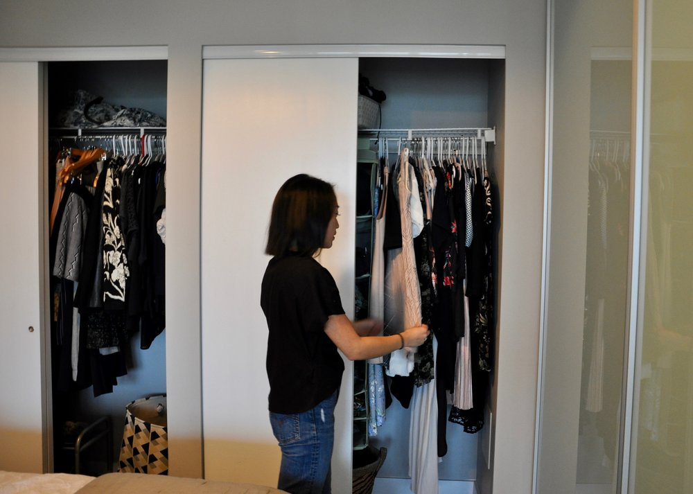 I store formal and special occasion dresses on the right side.