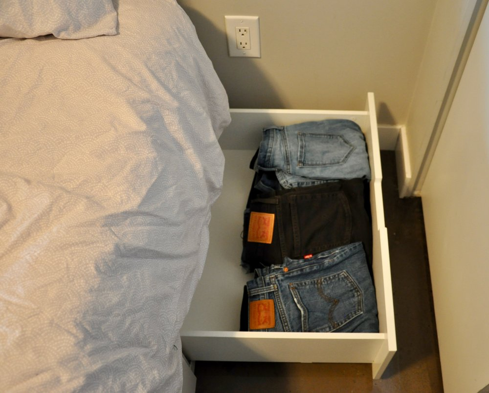 And finally, I use this storage unit under my bed for my jeans.