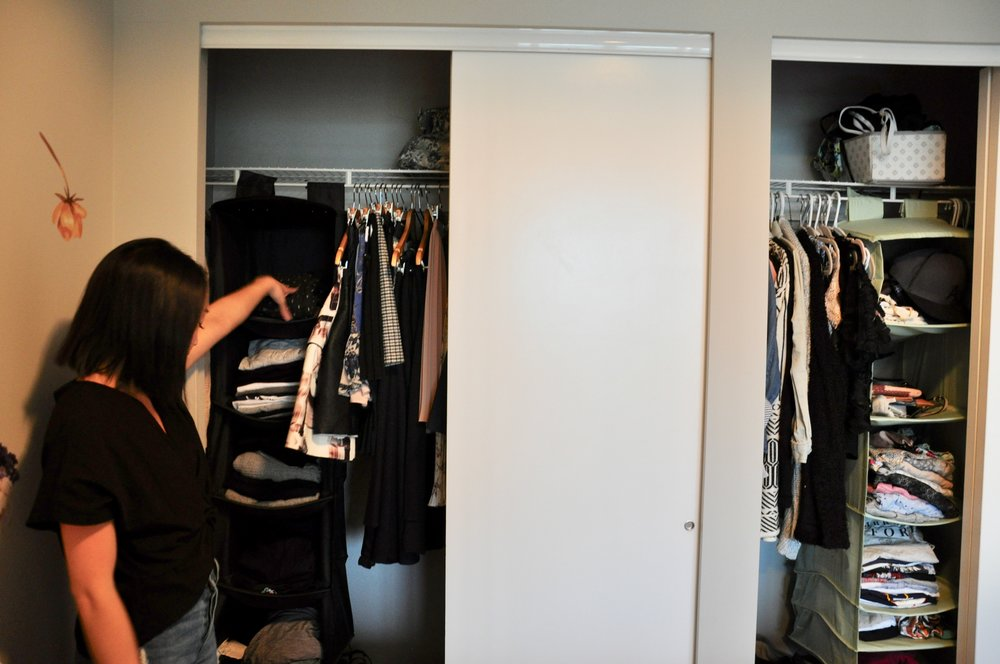 In the left section of my closet, I hang fancier skirts and pants. For anything that can be folded, I keep it in my black storage unit.