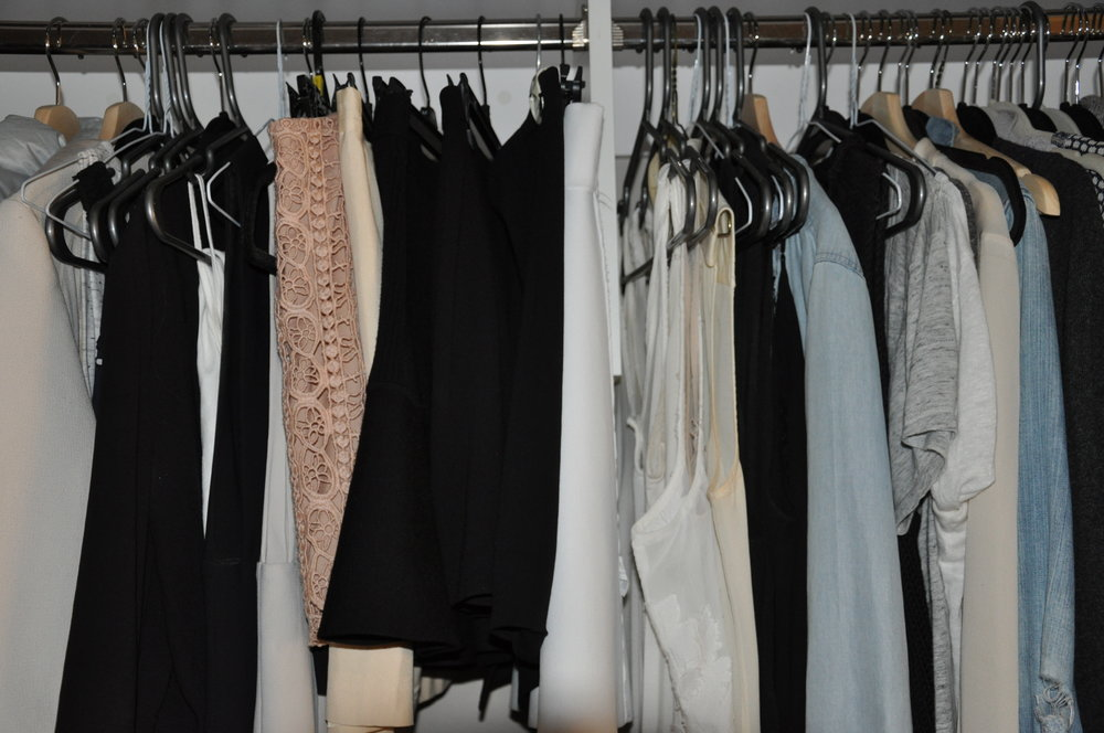 On the left side, I keep my skirts and heavier jackets.