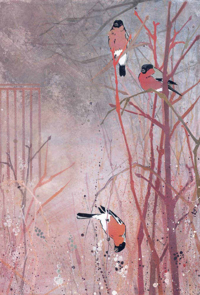 Bullfinches in a Dogwood Copse