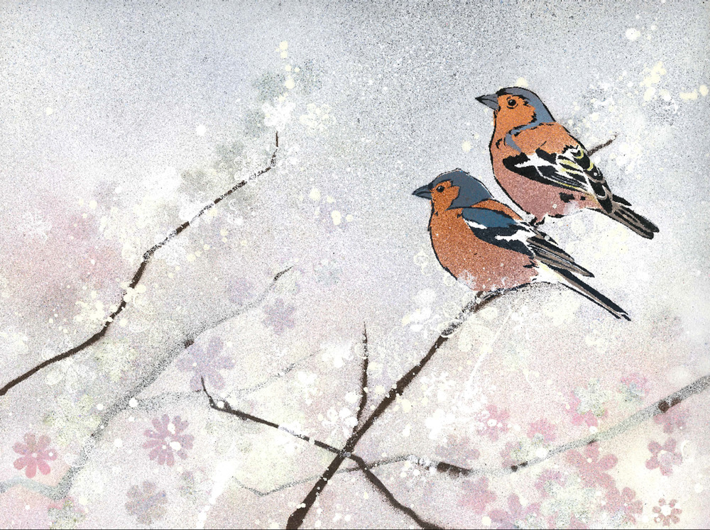 Chaffinches in Apple Blossom