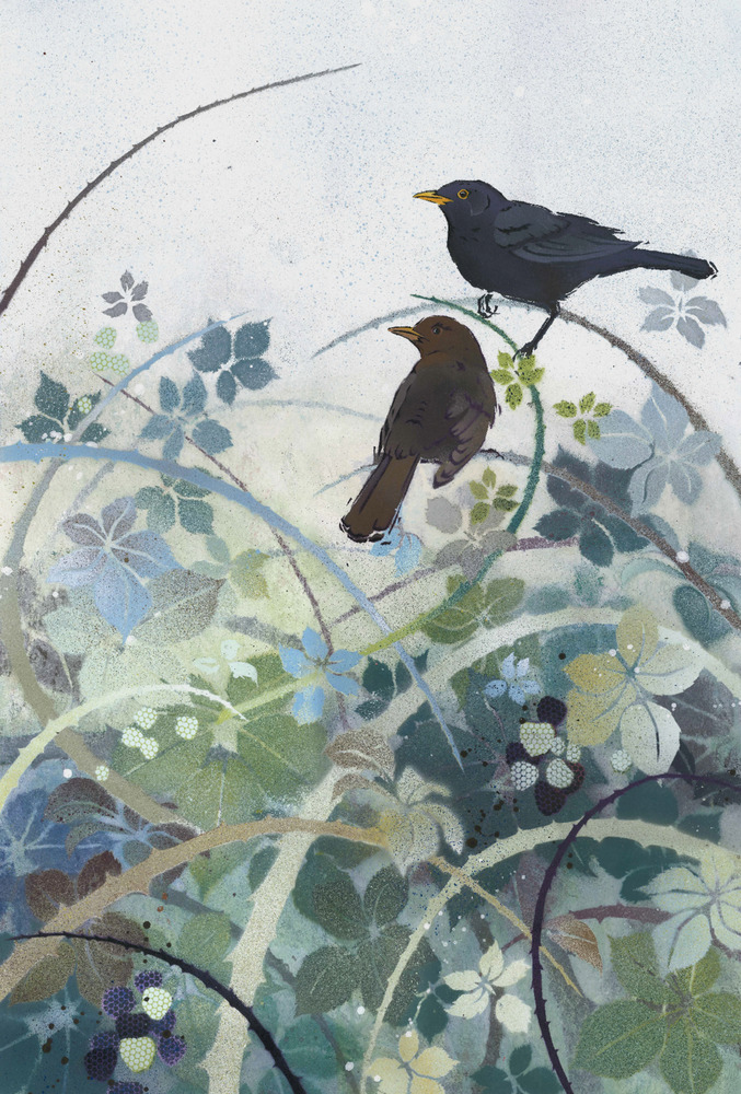 Blackbirds in Bramble Thicket