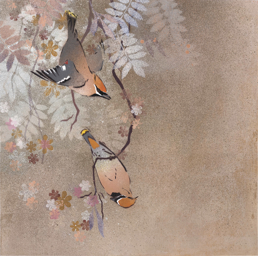 Waxwings in Spring Blossom