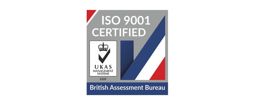 ISO 9001 Certified UKAS logo
