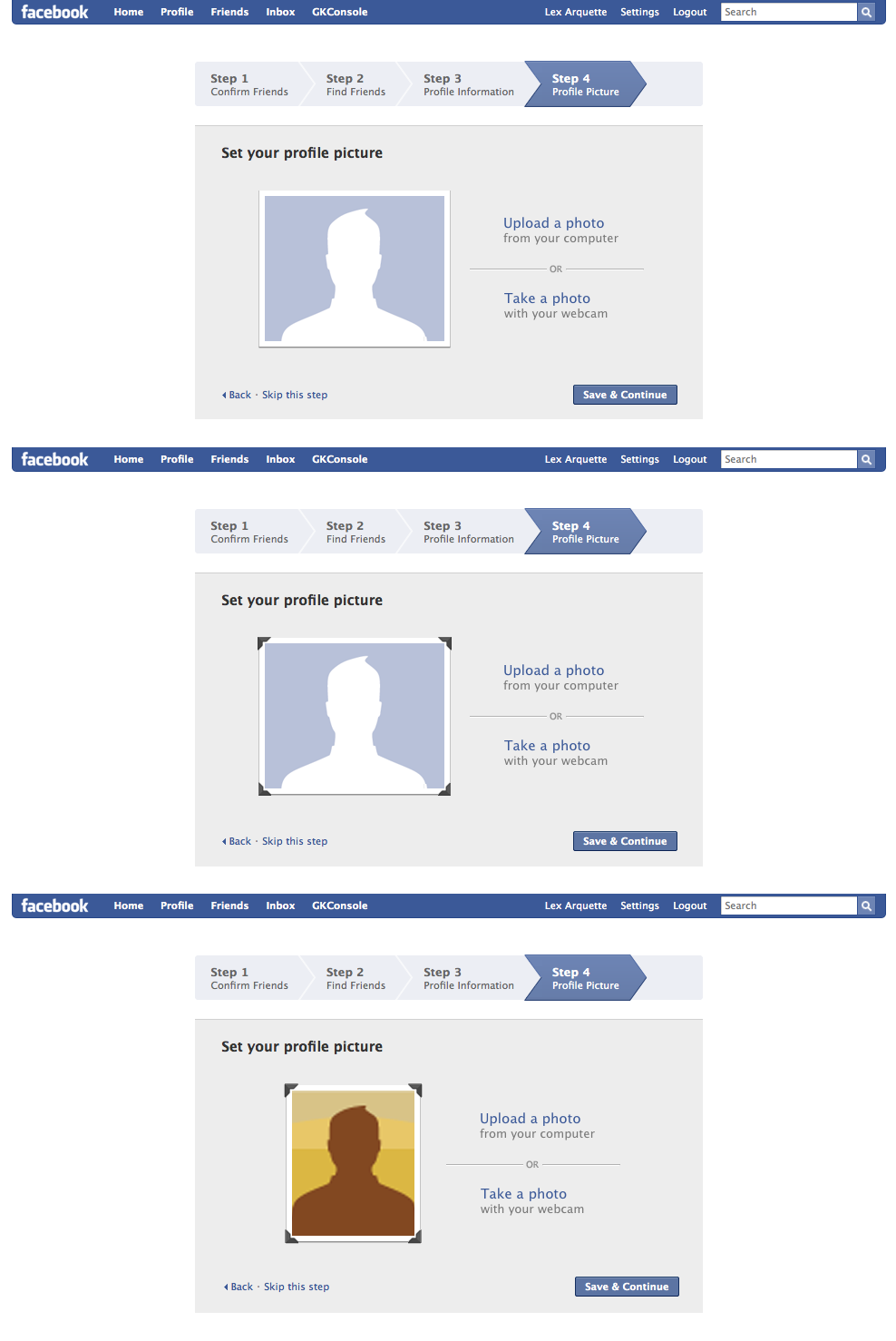 Set your profile picture - Many of the steps in the New User Flow required me to design and engineer multiple options. Each would be a/b tested against millions of real users. The winning design would then be launched to 100% of users.Sometimes the slightest design change can have a tremendous effect on the usability of an interface. Can you guess which of the 3 treatments to the left performed the best?