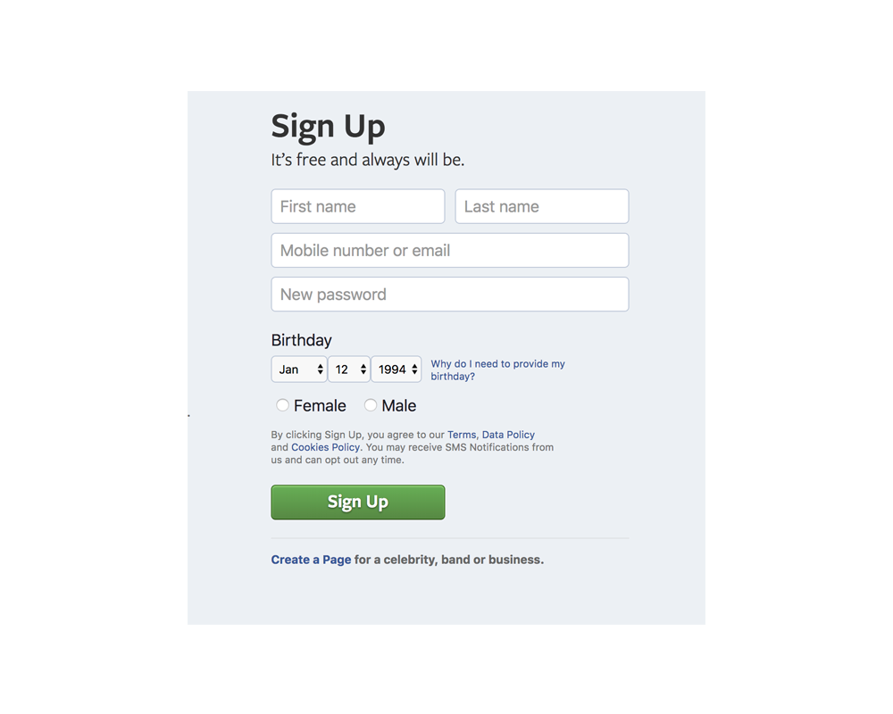 Sign Up - The Facebook signup flow went through many rounds of design changes to increase signups. We a/b tested font sizes, colors, mandatory fields, field ordering, multi-page signup, simplified signup, button colors, copy changes, and more to arrive at what you see today.However, the very first change I made to registration was to rewrite its Javascript to convert the form from a standard synchronous request to an asynchronous request. This meant the page didn't need to refresh upon form submission. As a result, form submission was faster, resulting in a sizable bump in registrations, especially in countries with low bandwidth.