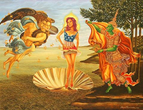 The Transformation of Sita (After S. Botticelli ) Acrylic on Canvas, 2006