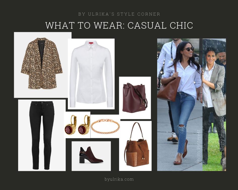 Photos: Zara (blazer & ankle boots), Ralph Lauren (bags), Dyrberg/Kern (earrings), Levi's (jeans), Hugo Boss (shirt), Swarovski (bracelet)