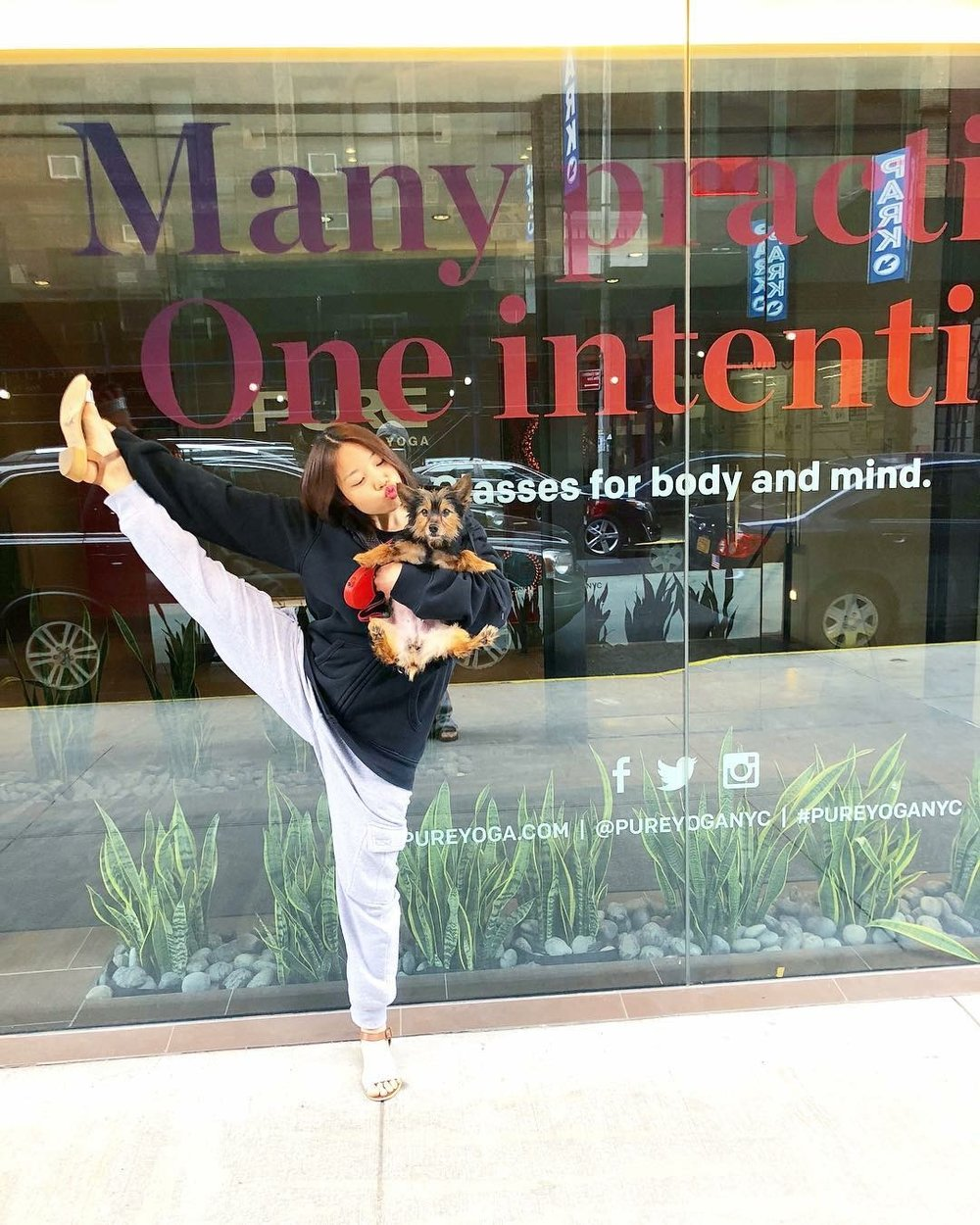 A photo of me in front of my frequently visited yoga studio at Pure Yoga, NYC where a group of dedicated Ashtangis called AOP resides!