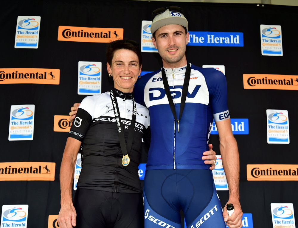 POWER PAIR: Yolande de Villiers and Gert Heyns celebrate on the podium after winning the women's and men's sections at The Herald Continental Cycle Tour 80km MTB race yesterday which started and ended at the Addo Polo Club Picture: EUGENE COETZE