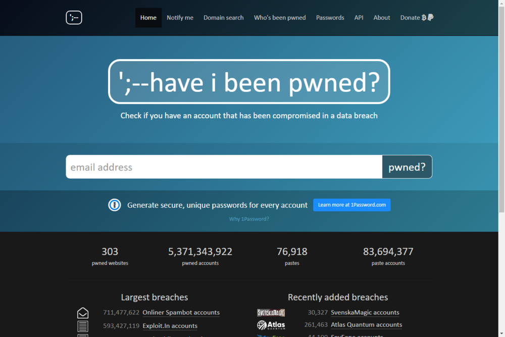 https://haveibeenpwned.com as of 2018/08/30.