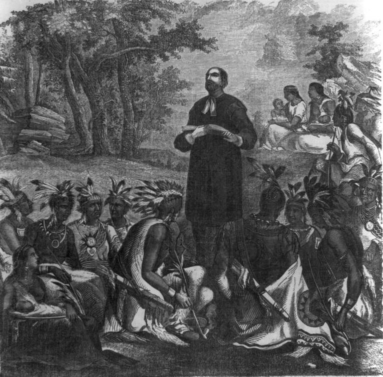 Rev. John Eliot preaching to the Indians
