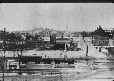 The Great Fire of 1874 destroyed the town center, burning several blocks to the ground. Click here for more details.