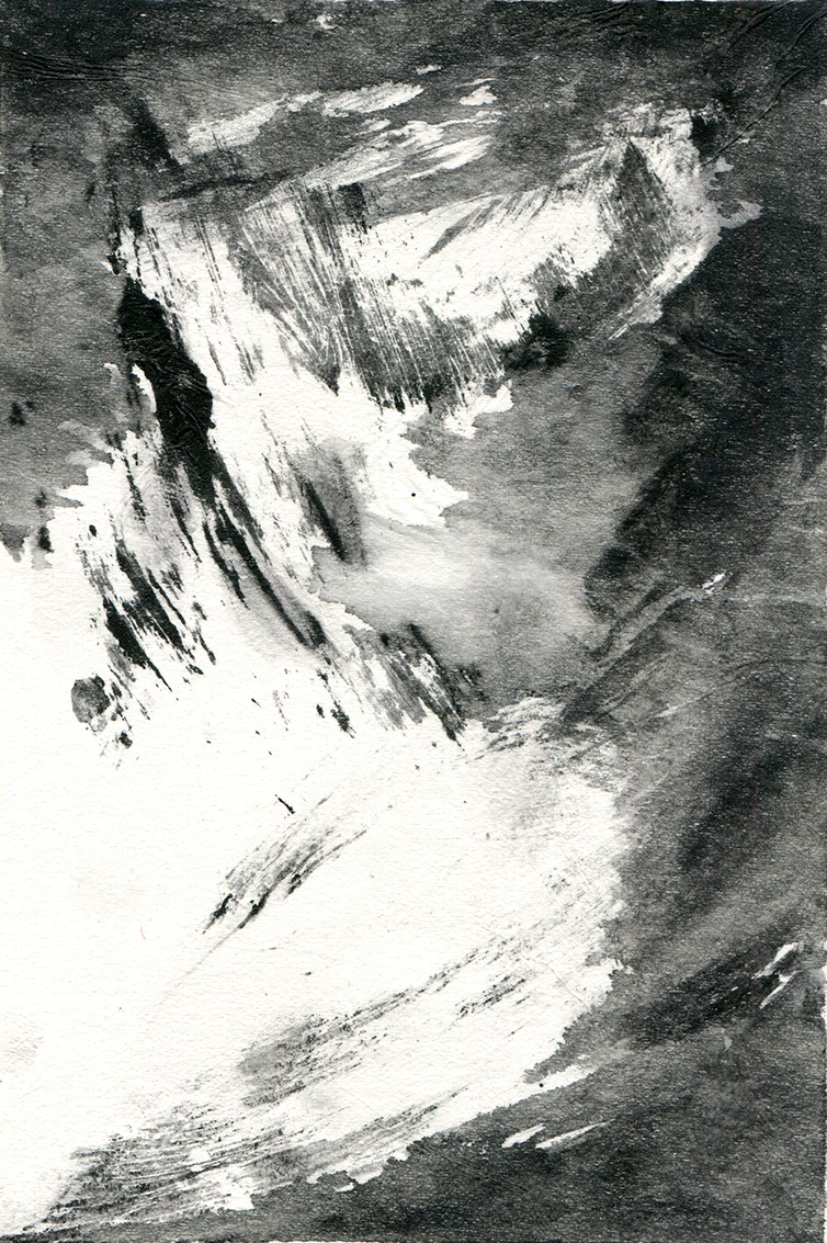 Finding Rhythms I  10 x 15cm  Monotype, watercolour on Japanese marushi paper