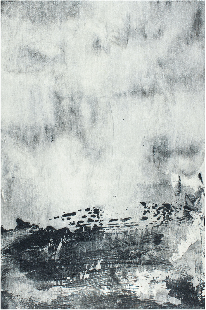 Undercurrents II  10 x 15cm  Monotype, watercolour on Japanese marushi paper