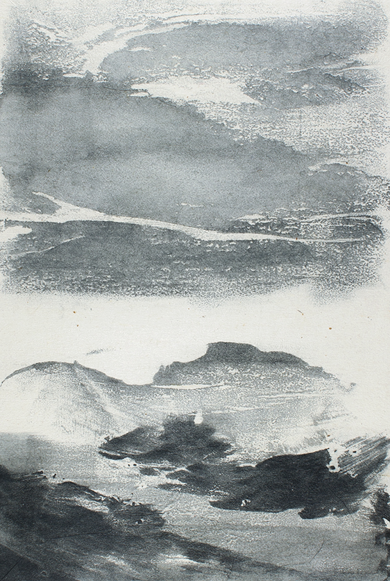 Undercurrents IV  10 x 15cm  Monotype, watercolour on Japanese marushi paper