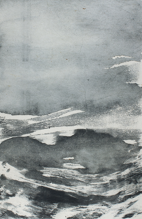 Undercurrents V  10 x 15cm  Monotype, watercolour on Japanese marushi paper