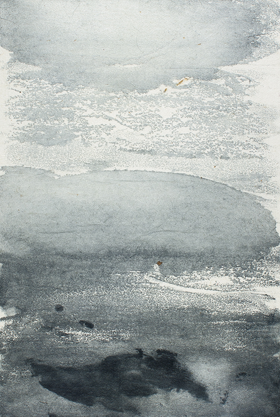 Undercurrents VI  10 x 15cm  Monotype, watercolour on Japanese marushi paper