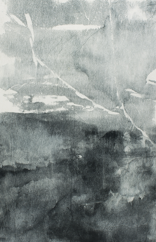 Undercurrents VII  10 x 15cm  Monotype, watercolour on Japanese marushi paper