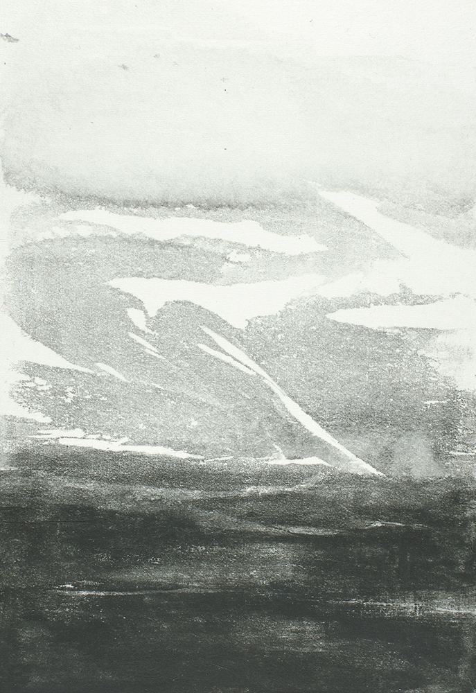 From Cliff Road II  10 x 15cm  Monotype, watercolour on Japanese marushi paper