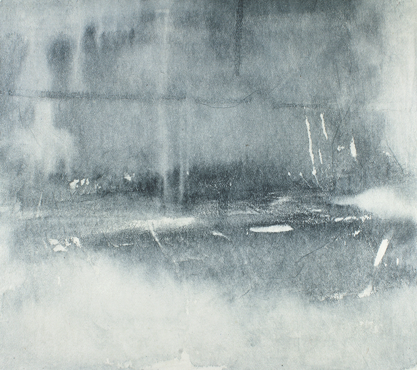 Untitled  15 x 13cm  Monotype, watercolour on Japanese marushi paper