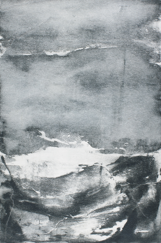Undercurrents III  10 x 15cm  Monotype, watercolour on Japanese marushi paper