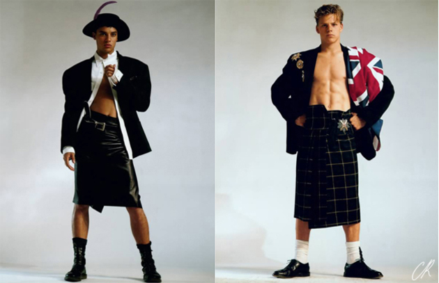 "Jean Paul Gautier's reinvention of the man skirt in his 1984! collection 'And God created Man' mad a small nick in the dam surrounding men and ""women's clothes"""
