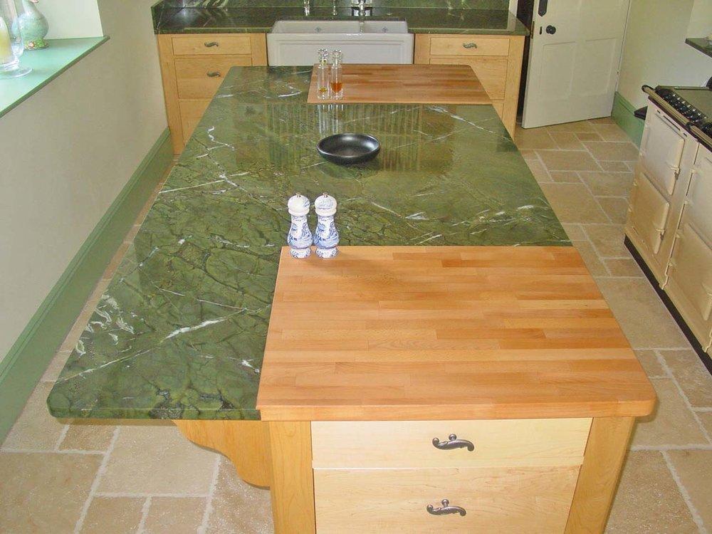 Green Granite & Beech Worktop