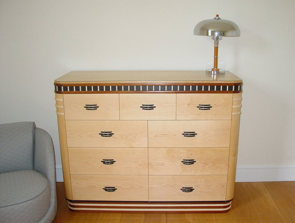 Maple & Ebony Art Deco Chest of Drawers