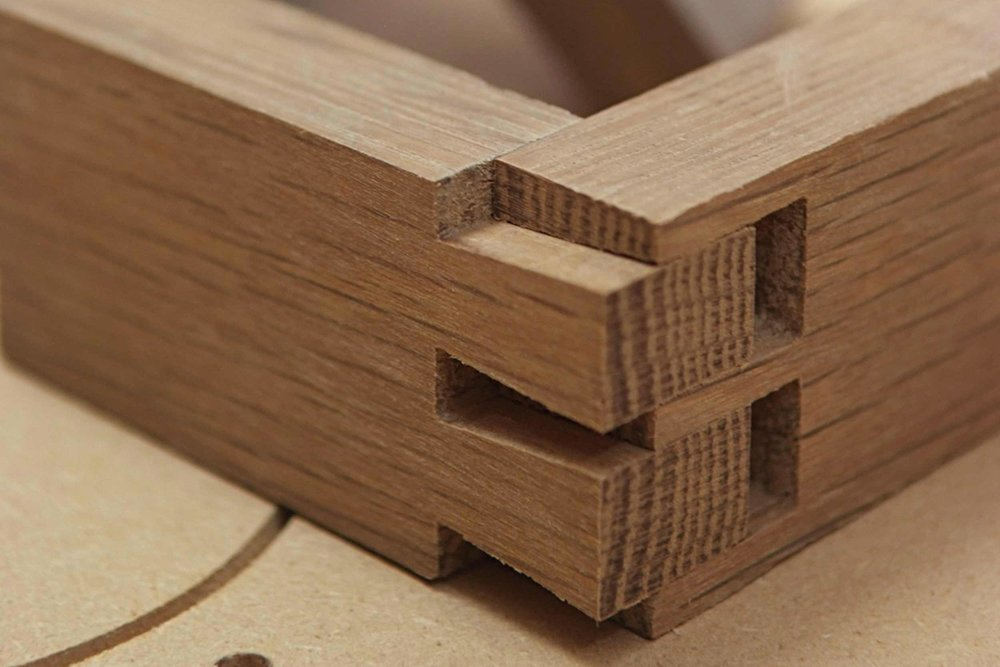 Hand cut dovetail joints before cleaning up and fitting