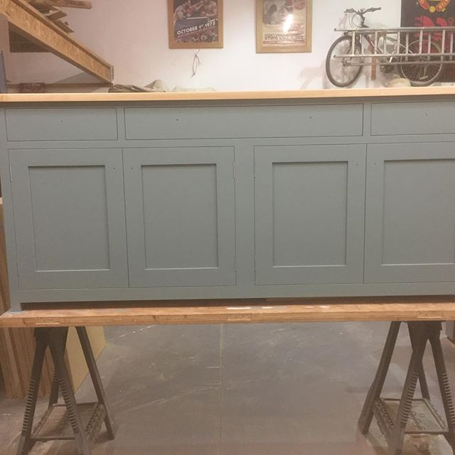 Bottom section of the Dresser now painted and with its 30mm thick solid Maple top fitted, just got to wait for the hand made handles to arrive now