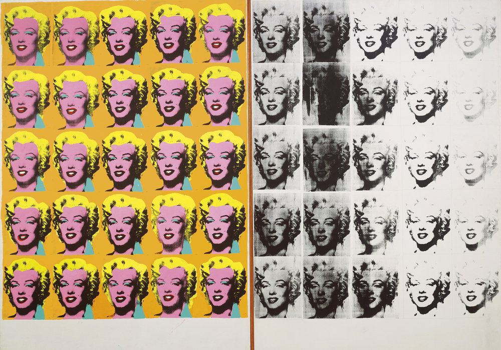 Andy Warhol (1928–1987),  Marilyn Diptych , 1962. Acrylic, silkscreen ink, and graphite on linen, two panels: 80 7/8 x 114 in. (205.4 x 289.6 cm) overall. Tate, London; purchase 1980 © The Andy Warhol Foundation for the Visual Arts, Inc. / Artists Rights Society (ARS) New York