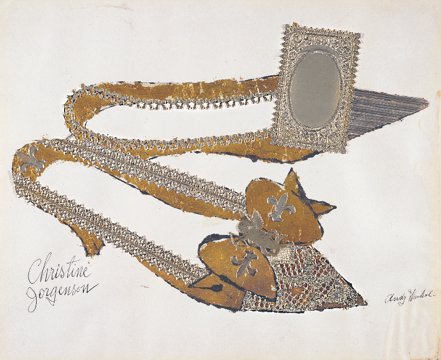 Andy Warhol (1928–1987),  Christine Jorgenson , 1956. Collaged metal leaf and embossed foil with ink on paper, 13 x 16 in. (32.9 x 40.7 cm). Sammlung Froehlich, Leinfelden-Echterdingen, Germany © The Andy Warhol Foundation for the Visual Arts, Inc. / Artists Rights Society (ARS) New York