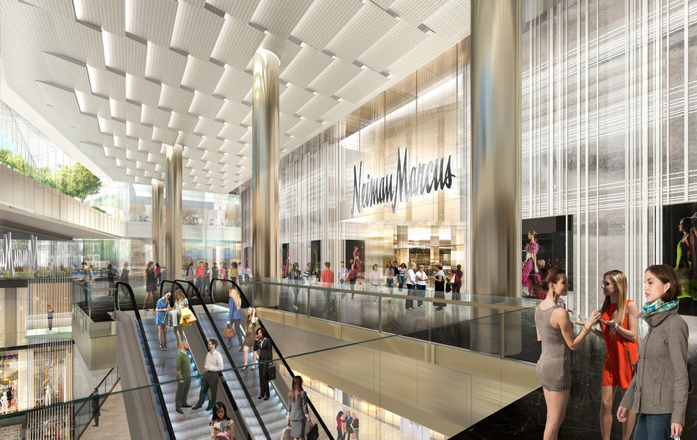 View of Neiman Marcus entrance from The Shops at Hudson Yards. Courtesy of Related-Oxford