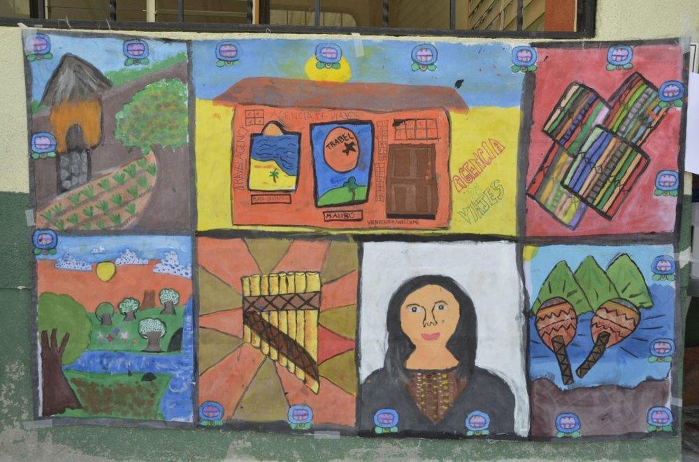 An art project featuring imagery representative of the Mayan identity; Photo by Yihemba Yikona