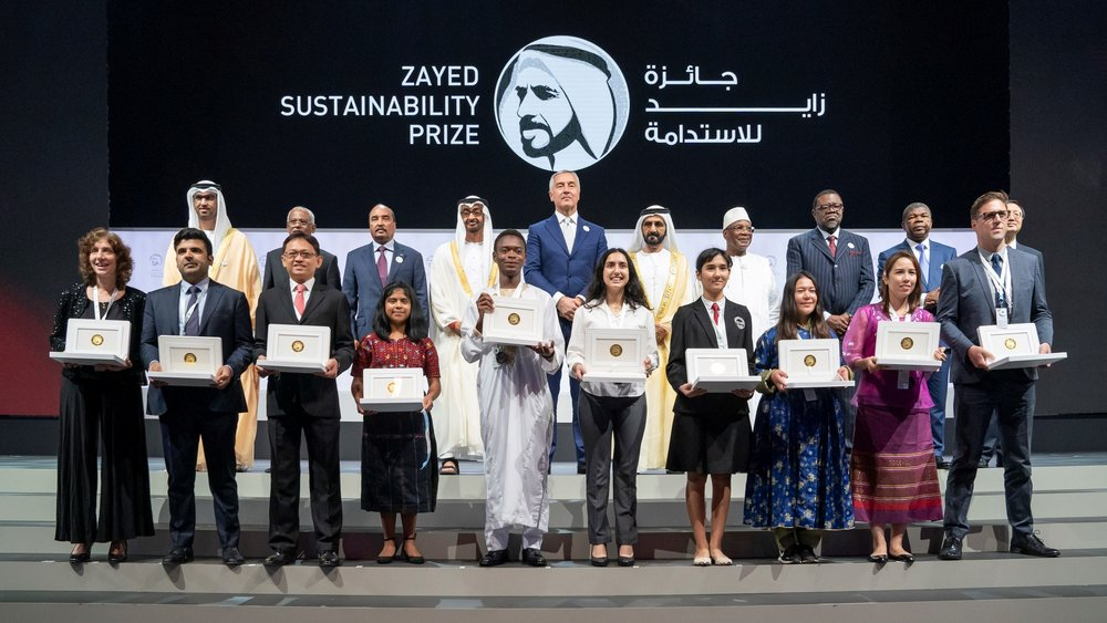 The 2019 Prize winners.   Photo: Zayed Sustainability Prize